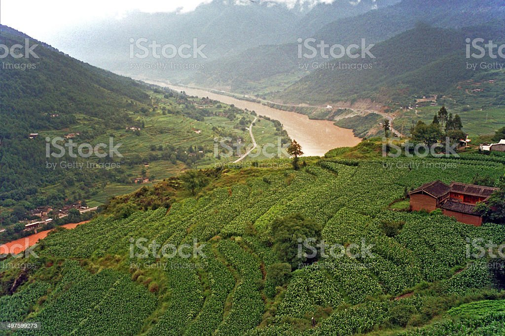 aerial view of generic chinese village stock photo