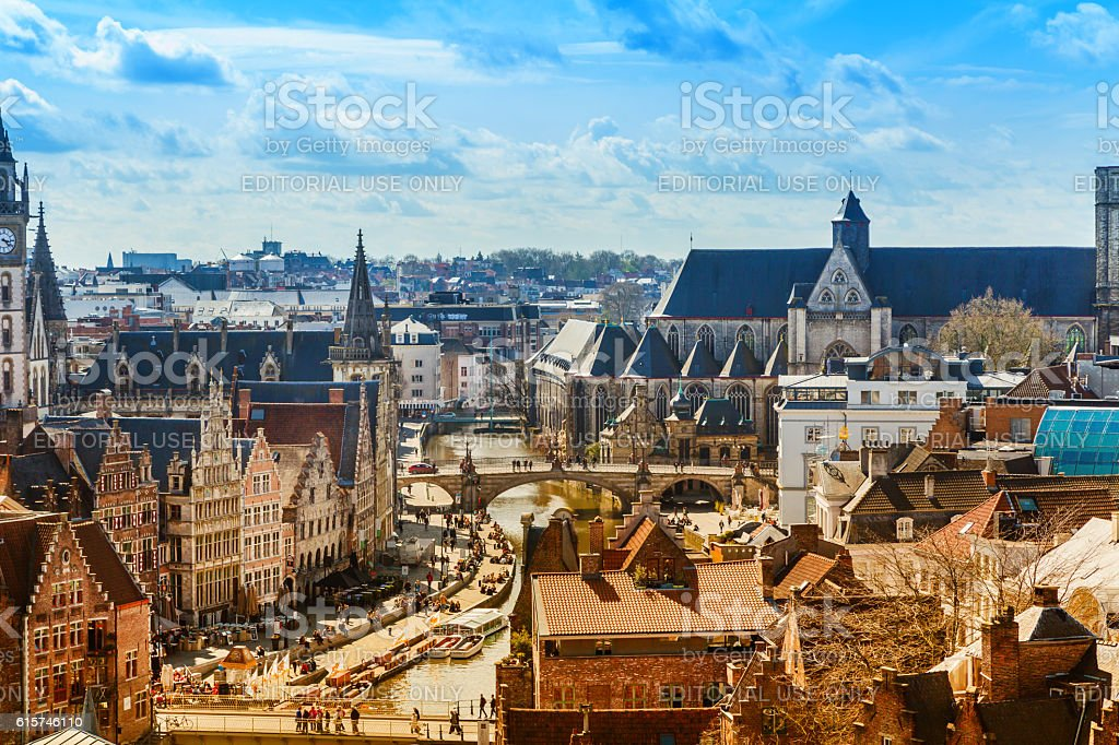 Aerial view of Ghent with canal and medieval buildings, Belgium stock photo