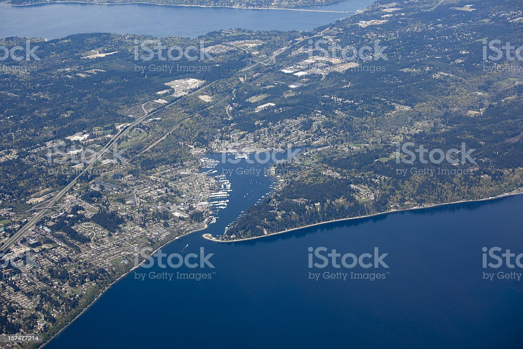 Aerial View of Gig Harbor, Puget Sound Metro Area stock photo