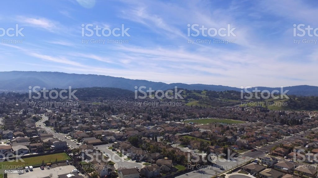 Aerial view of Gilroy stock photo