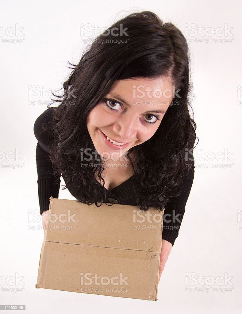 Aerial view of girl with a box stock photo