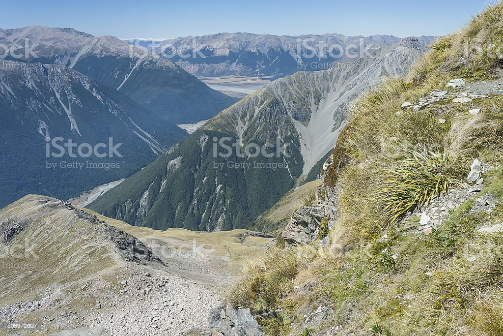 aerial view of glacial valley in Arthur's Pass National Park royalty-free stock photo