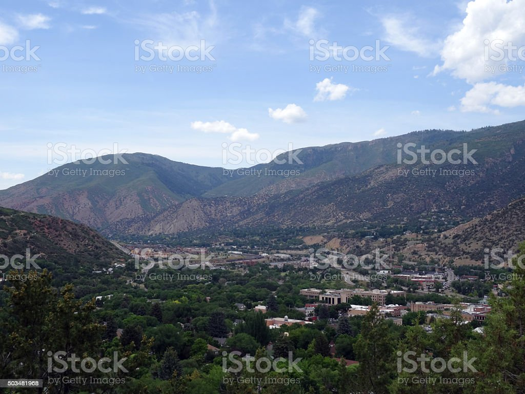 Aerial view of Glenwood Springs Town in the Colorado Mountains stock photo