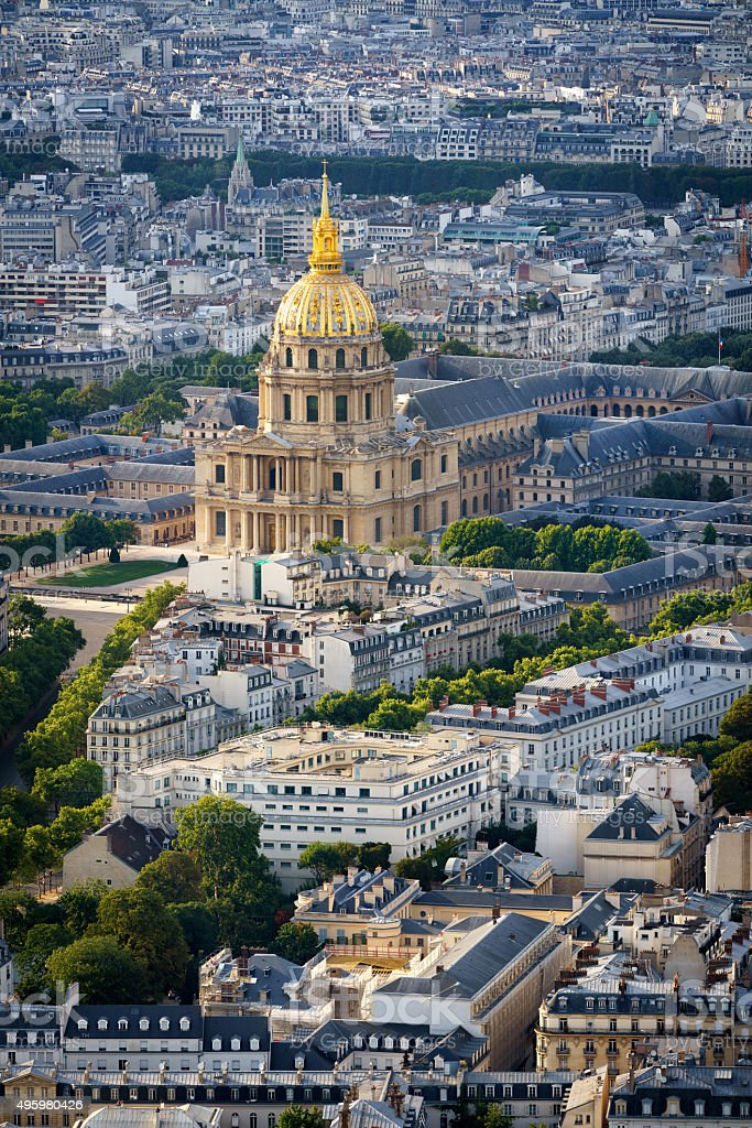 Aerial View of Gold Dome of Les Invalides, Paris, France stock photo