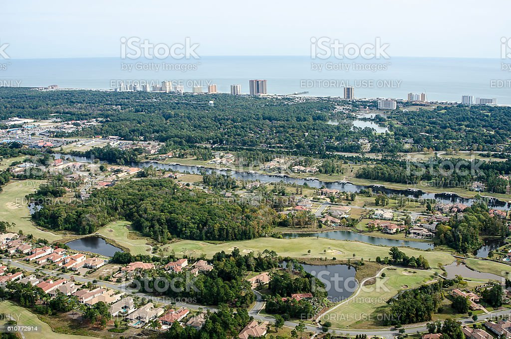 Aerial View of Grande Dunes in Myrtle Beach, South Carolina stock photo