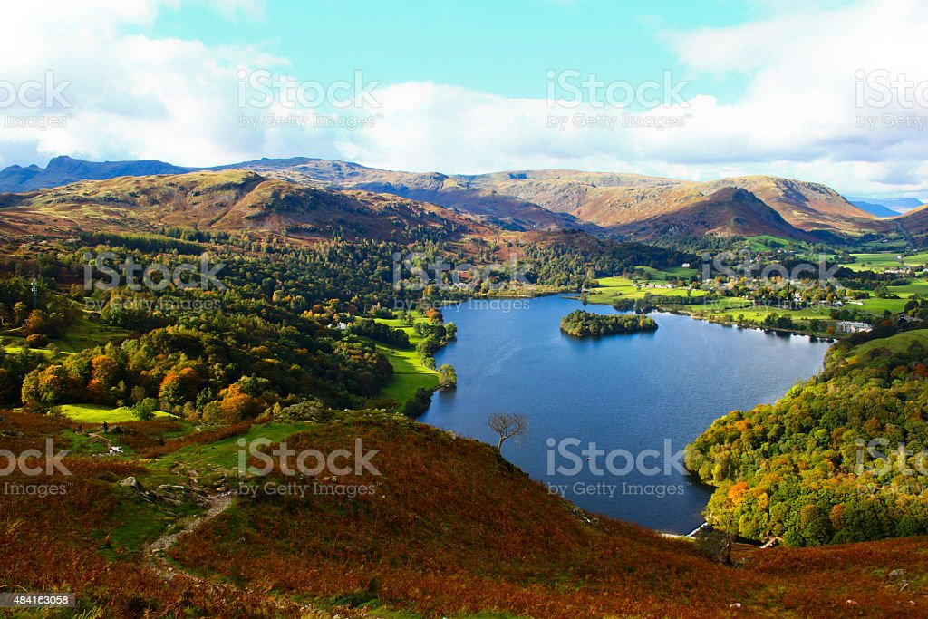 Aerial view of Grasmere from the slopes of Loughrigg fell stock photo