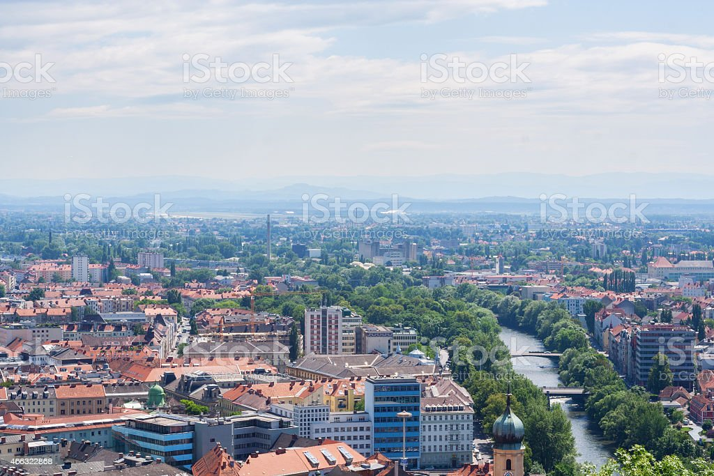 Aerial View of Graz, Austria. stock photo