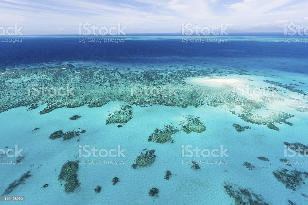 Aerial view of Great Barrier Reef from helicopter stock photo