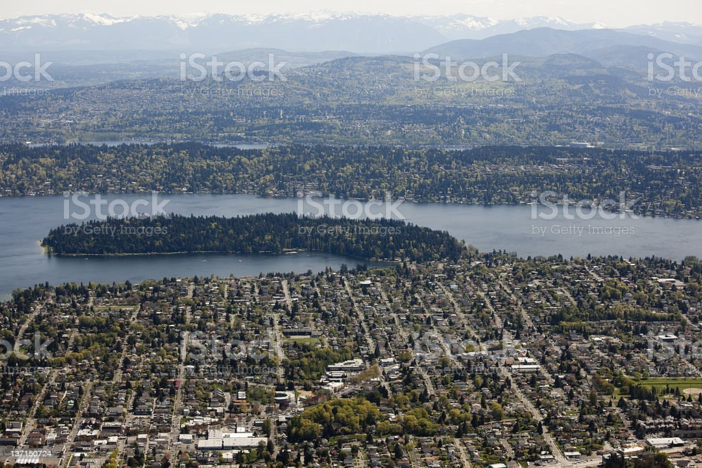 Aerial View of Greater Seattle Metro Area stock photo