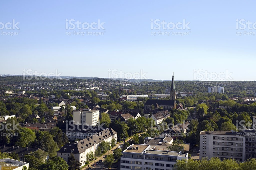 Aerial view of green city Essen stock photo