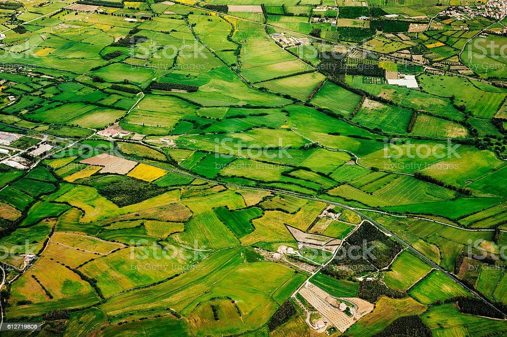 Aerial view of green farmland stock photo