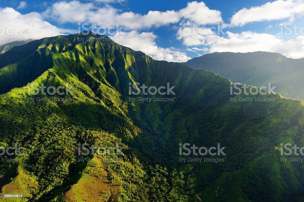 Aerial view of green fields on Kauai, Hawaii stock photo
