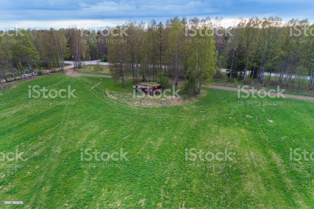 aerial view of green geometric agricultural fields in russia stock photo
