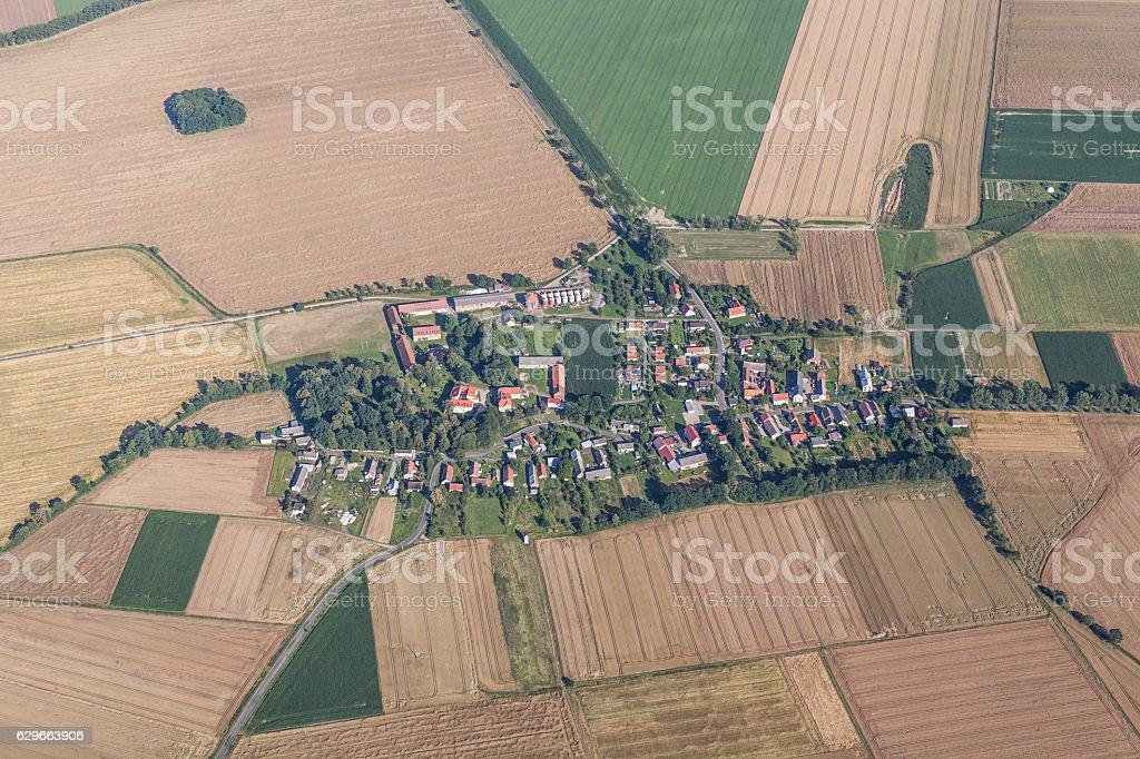 aerial view of green harvest fields near Piotrowice Nyskie stock photo