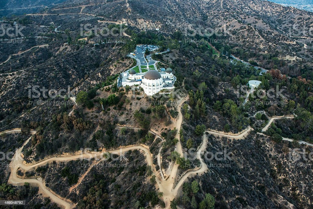 Aerial view of Griffith Park Observatory stock photo