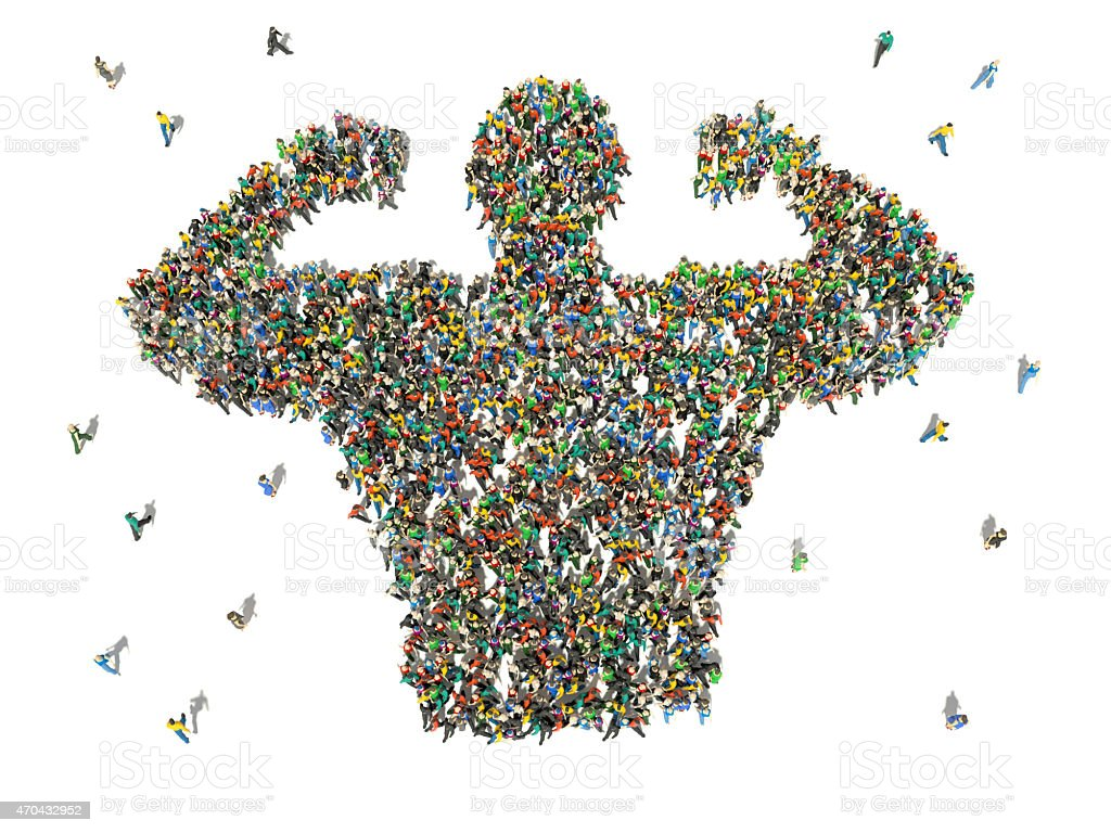 Aerial view of group of people forming the shape of a man stock photo