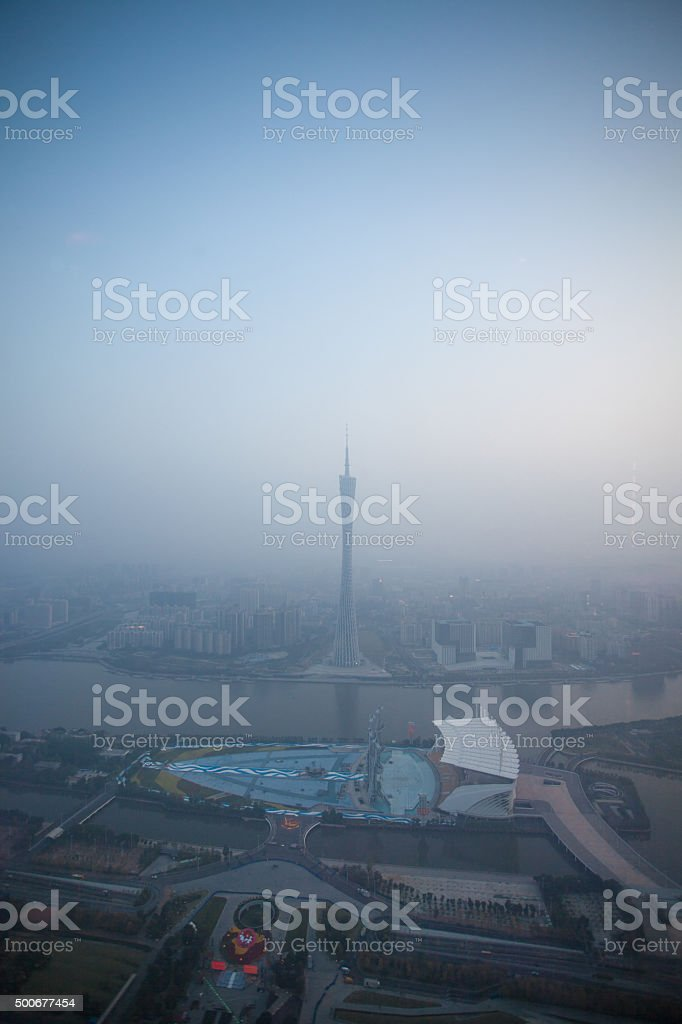 Aerial  View of Guangzhou CBD in dust stock photo
