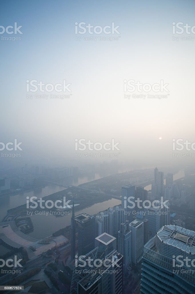 Aerial  View of Guangzhou CBD in dusthaze stock photo