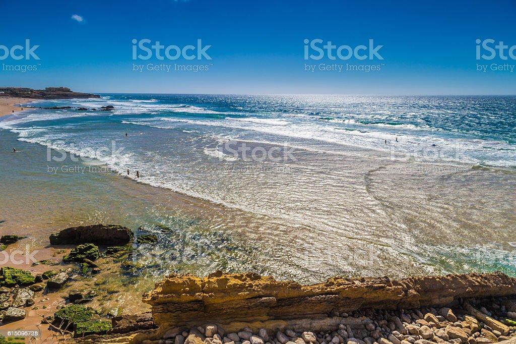 Aerial view of Guincho beach (Praia Grande do Guincho), Portugal stock photo