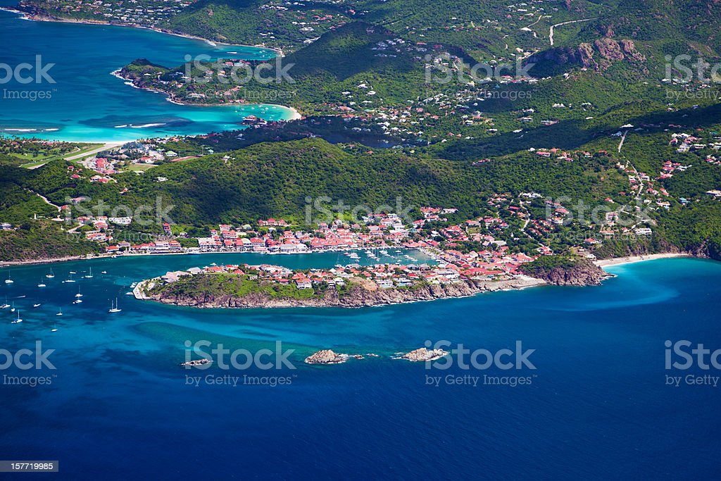 aerial view of Gustavia in St. Barths, French West Indies stock photo