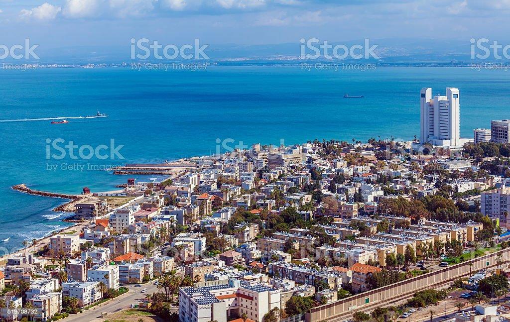 Aerial View of Haifa, Israel stock photo