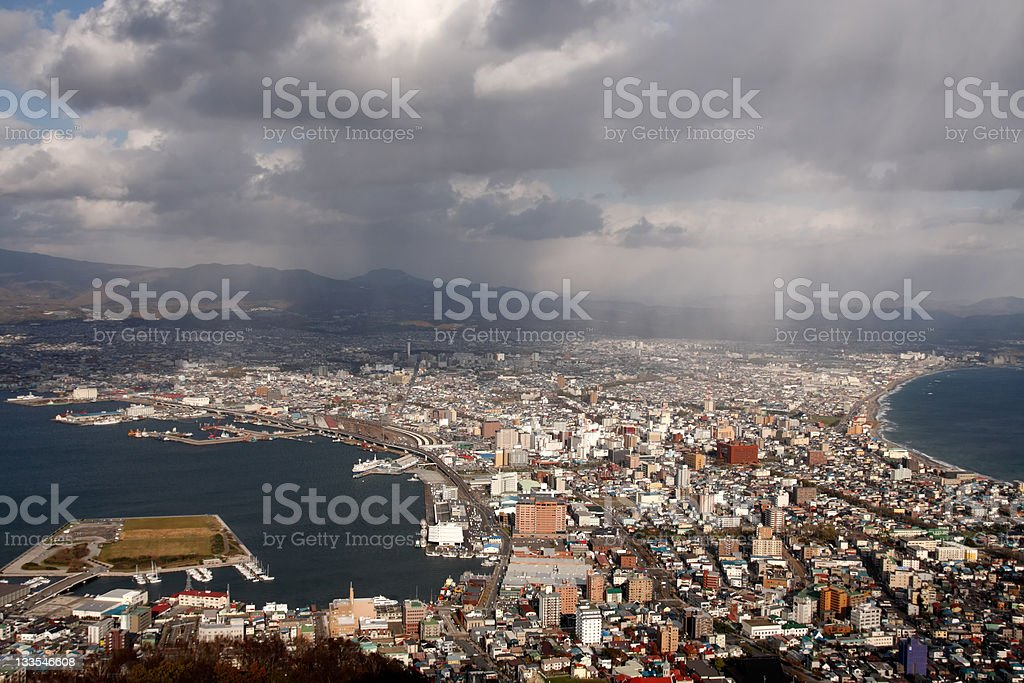 Aerial view of Hakodate stock photo