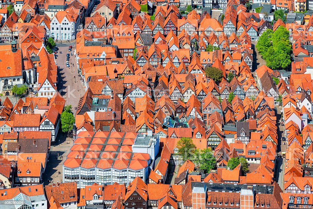 Aerial View of half-timbered houses in Celle , Lower Saxony stock photo