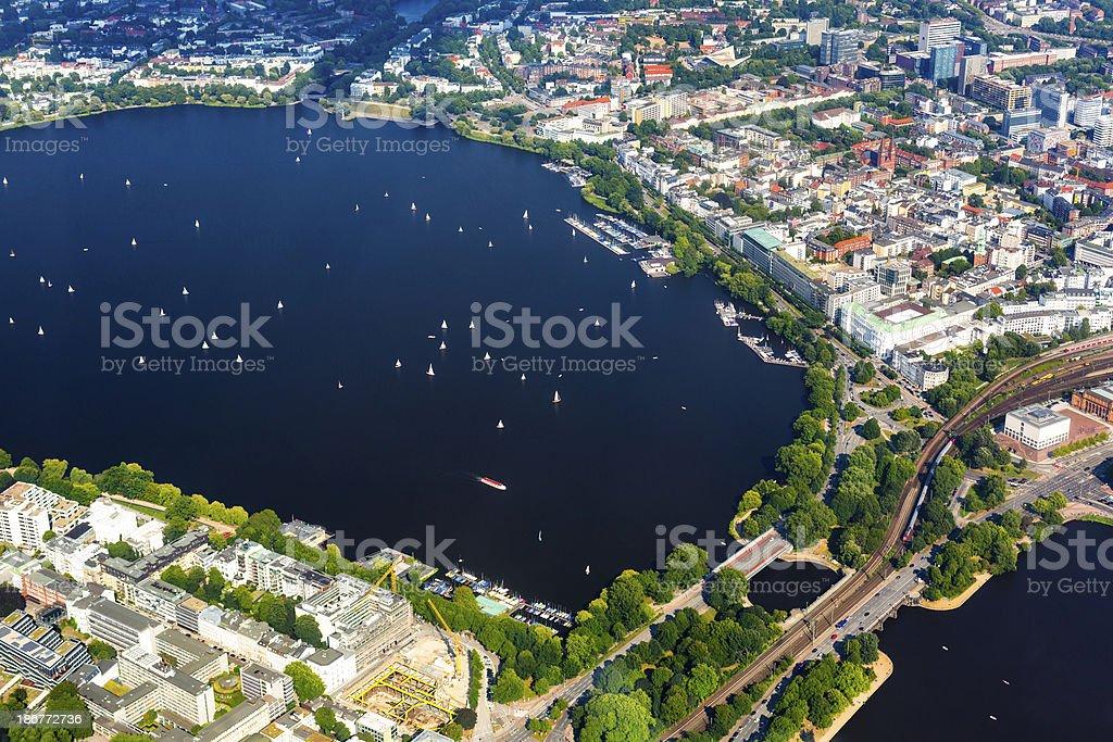Aerial view of Hamburg - Alster lake royalty-free stock photo