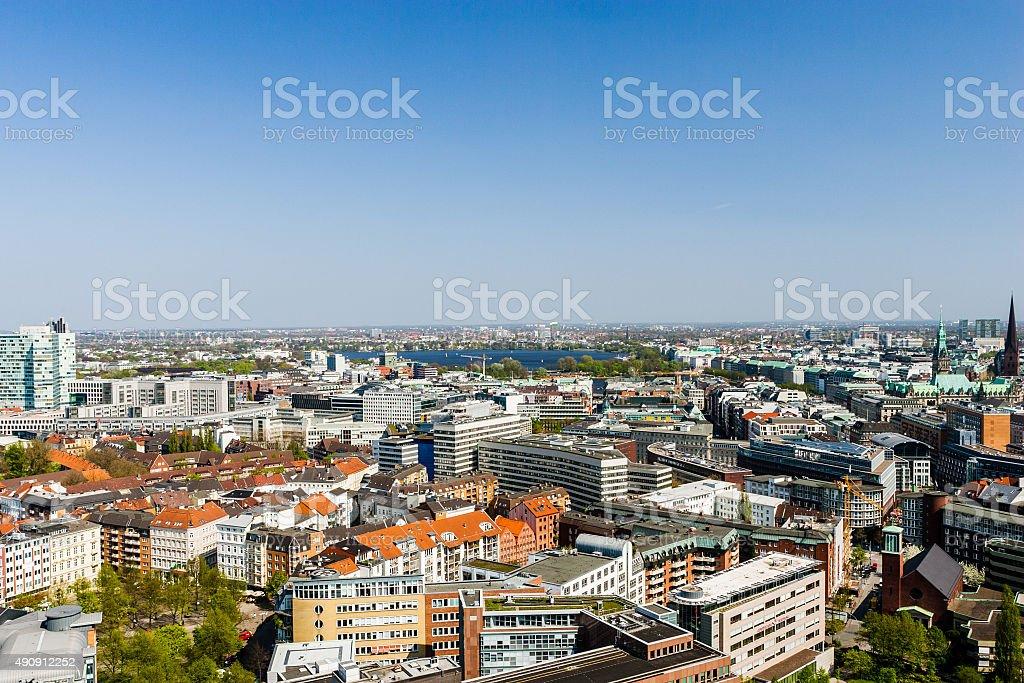 Aerial view of Hamburg city center, Germany stock photo