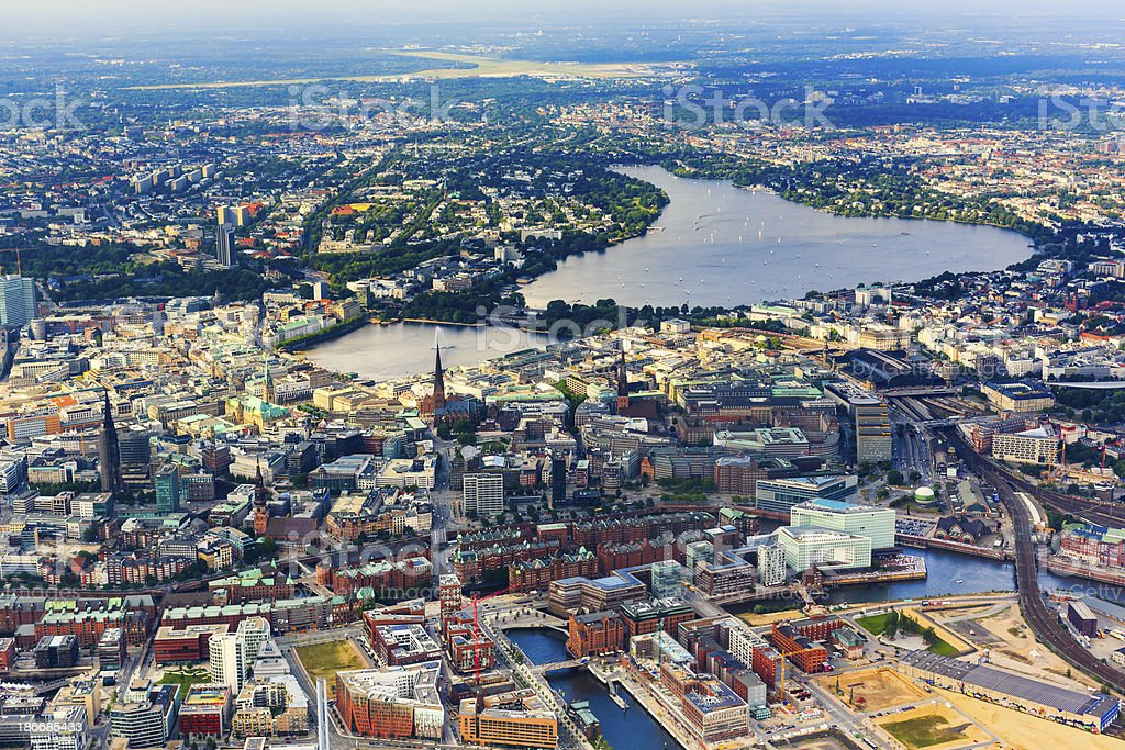Aerial view of Hamburg - Town hall and Alster lake royalty-free stock photo
