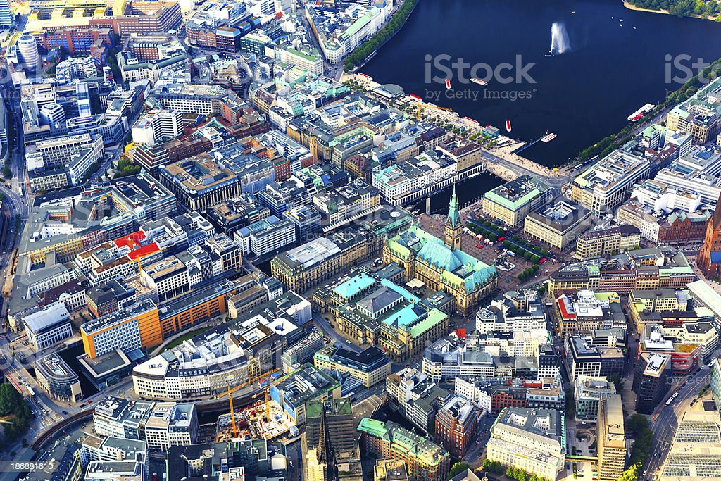 Aerial view of Hamburg - Town hall and Alster lake stock photo