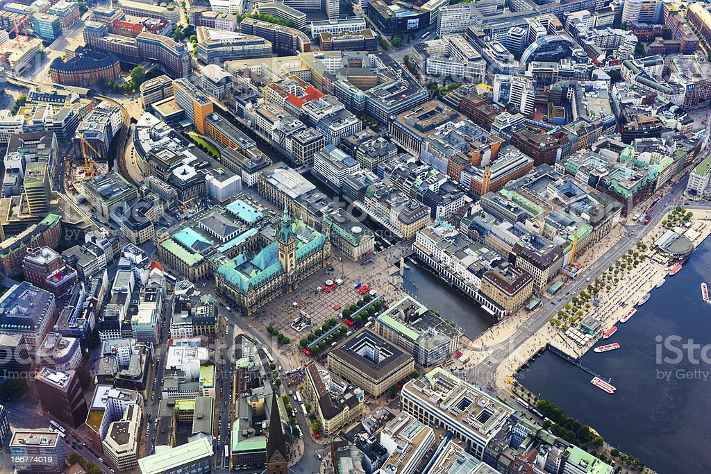 Aerial view of Hamburg - Town hall stock photo