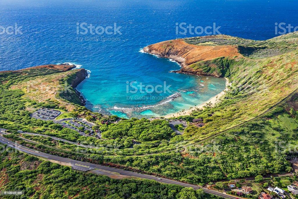 Aerial view of Hanauma Bay, Oahu, Hawaii stock photo