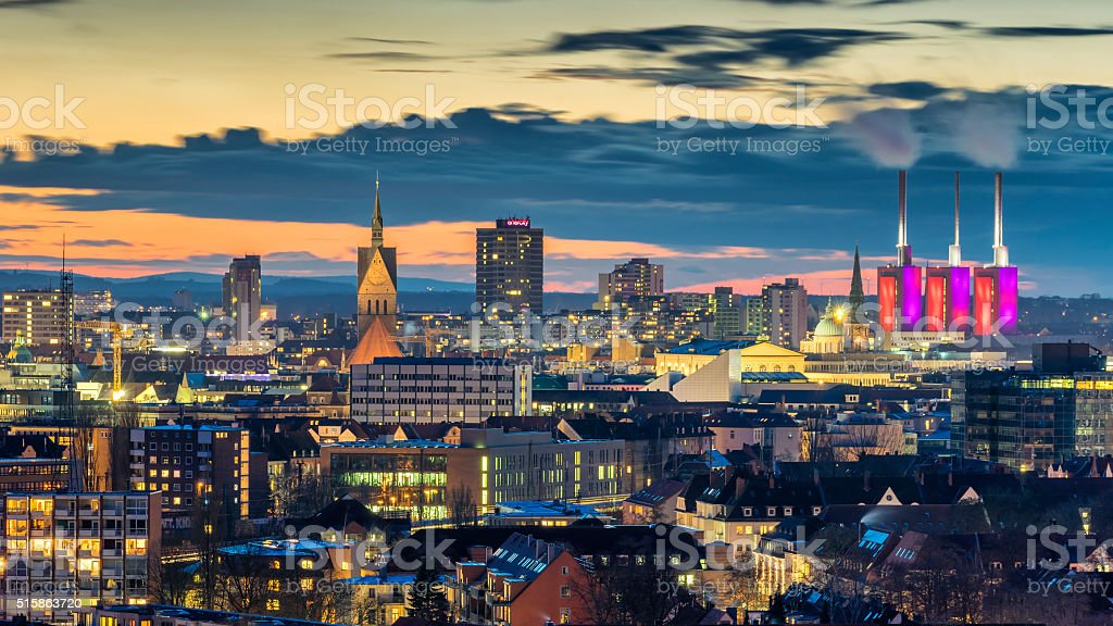 Aerial view of Hannover at evening. Lower Saxony. stock photo