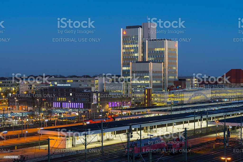 Aerial view of Hannover at evening, stock photo