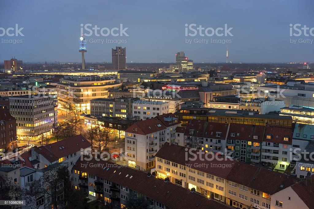 Aerial view of Hannover at evening. stock photo