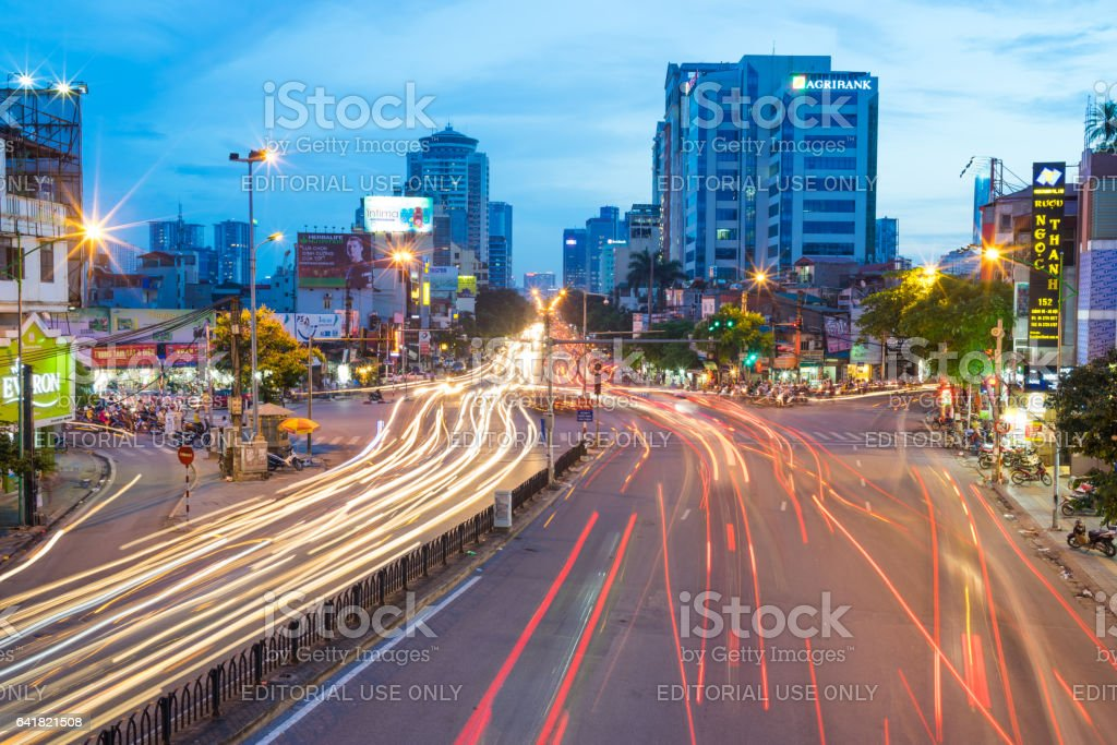 Hanoi, Vietnam - July 7, 2016: Aerial view of Hanoi cityscape on Giang Vo street at twilight stock photo