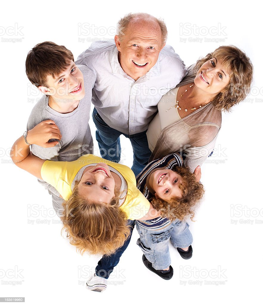 Aerial view of happy family royalty-free stock photo