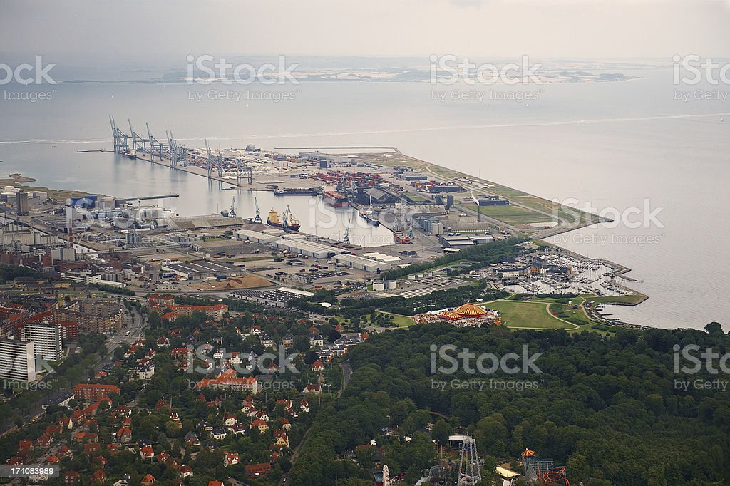 Aerial view of harbor area in a city stock photo