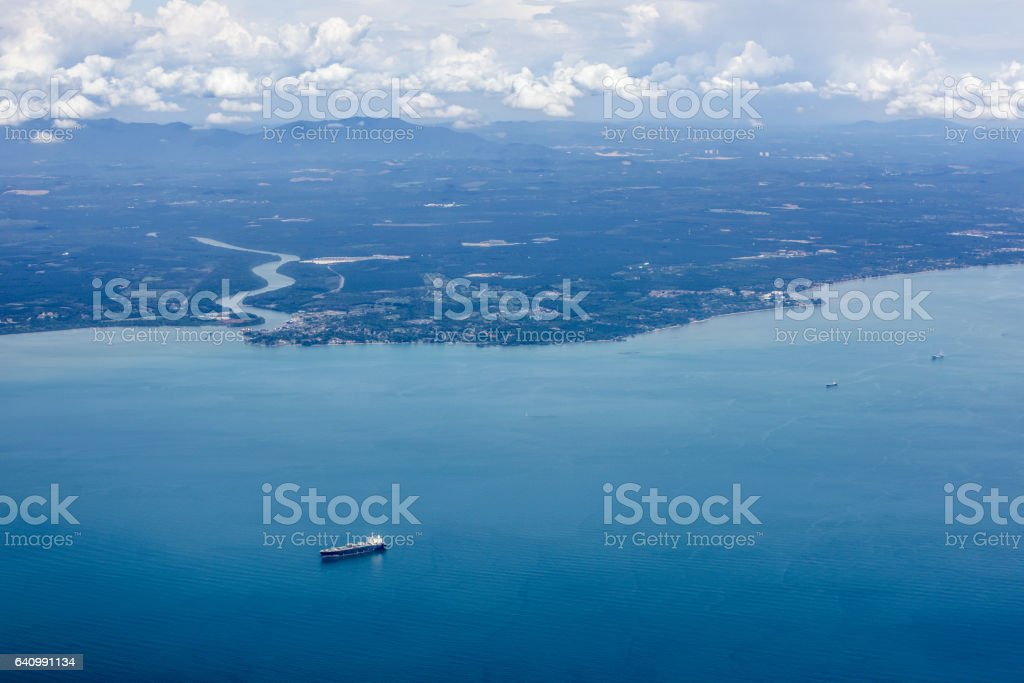 aerial view of harbor stock photo