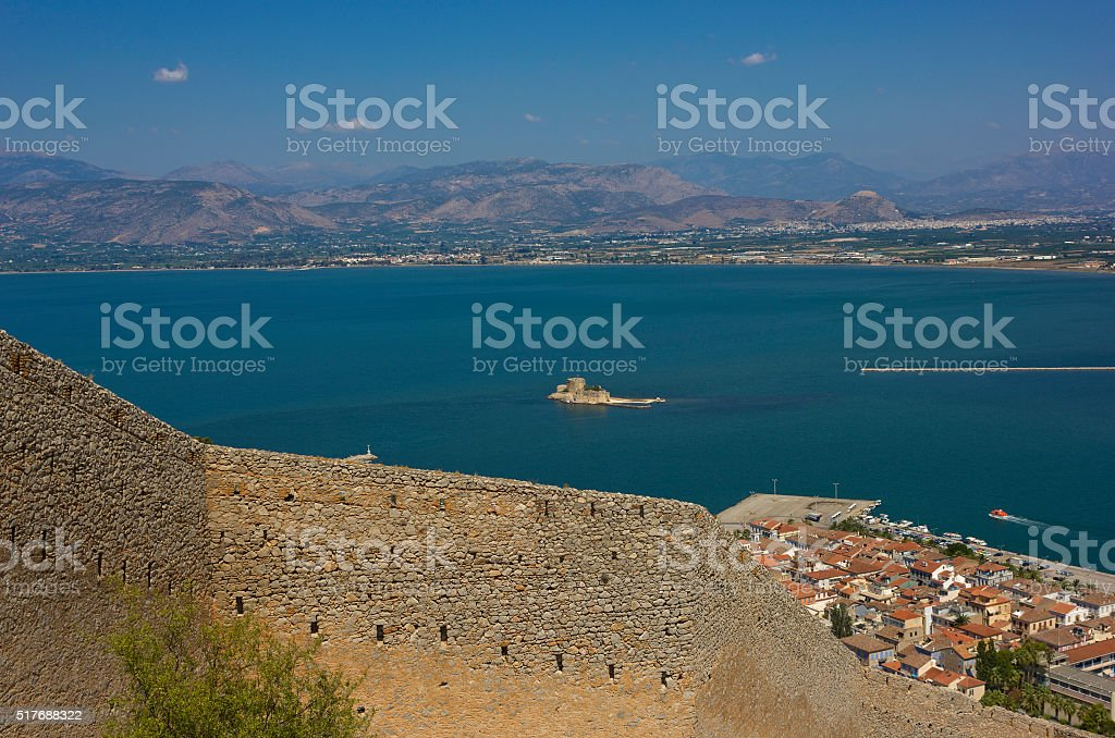 Aerial view of harbour of Nafplio, Greece stock photo
