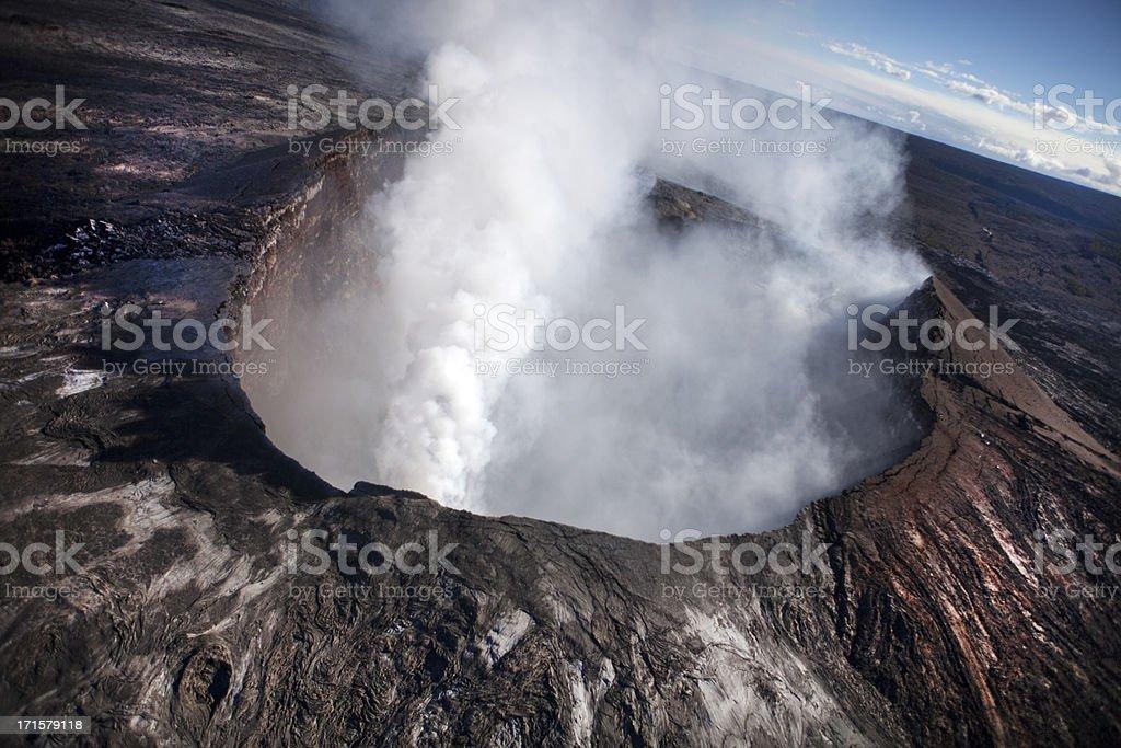 Aerial View Of Hawaiian Volcano stock photo