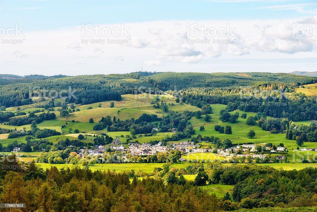 Aerial view of Hawkshead village stock photo