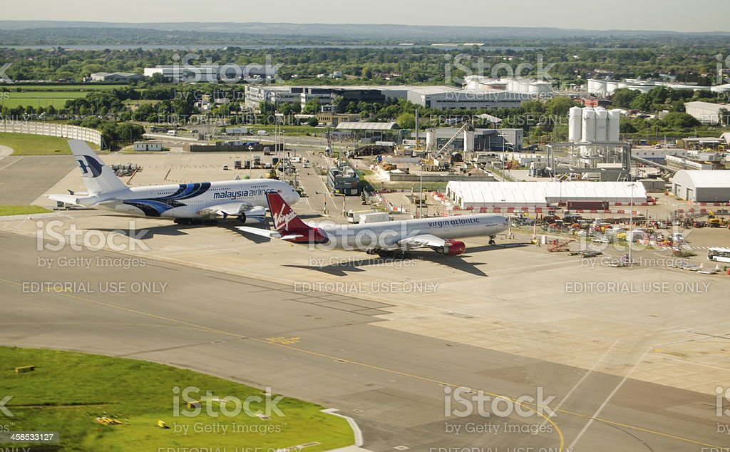 Aerial view of Heathrow Airport stock photo