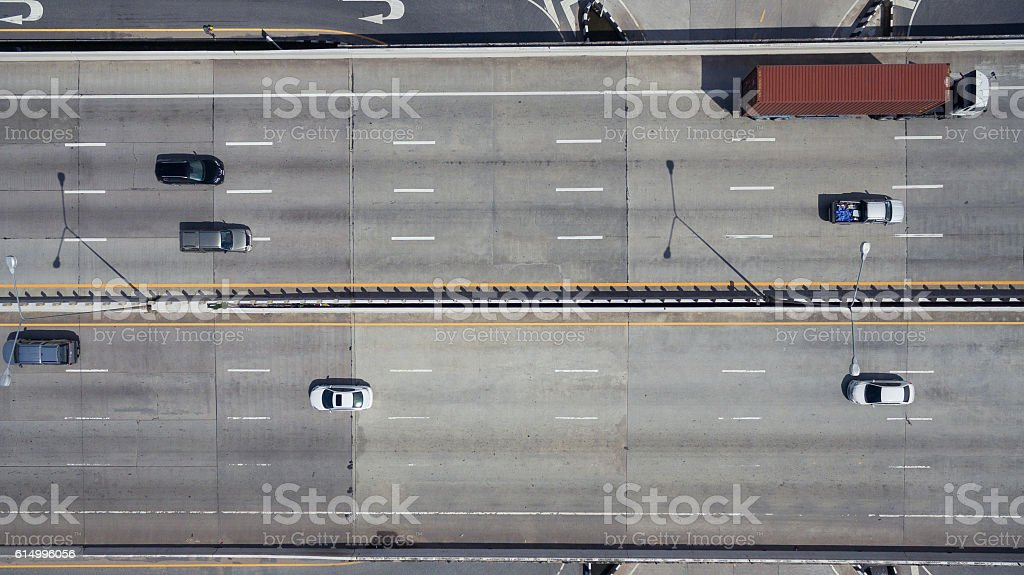 Aerial view of highway in Thailand stock photo