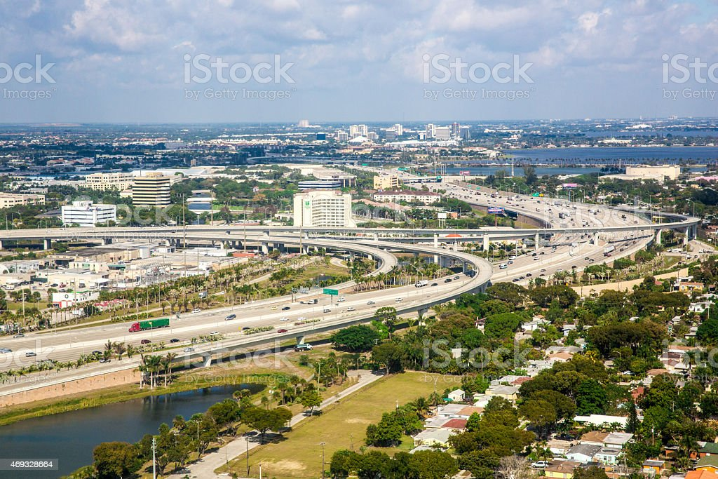 Aerial view of highway in West Palm Beach, Florida stock photo