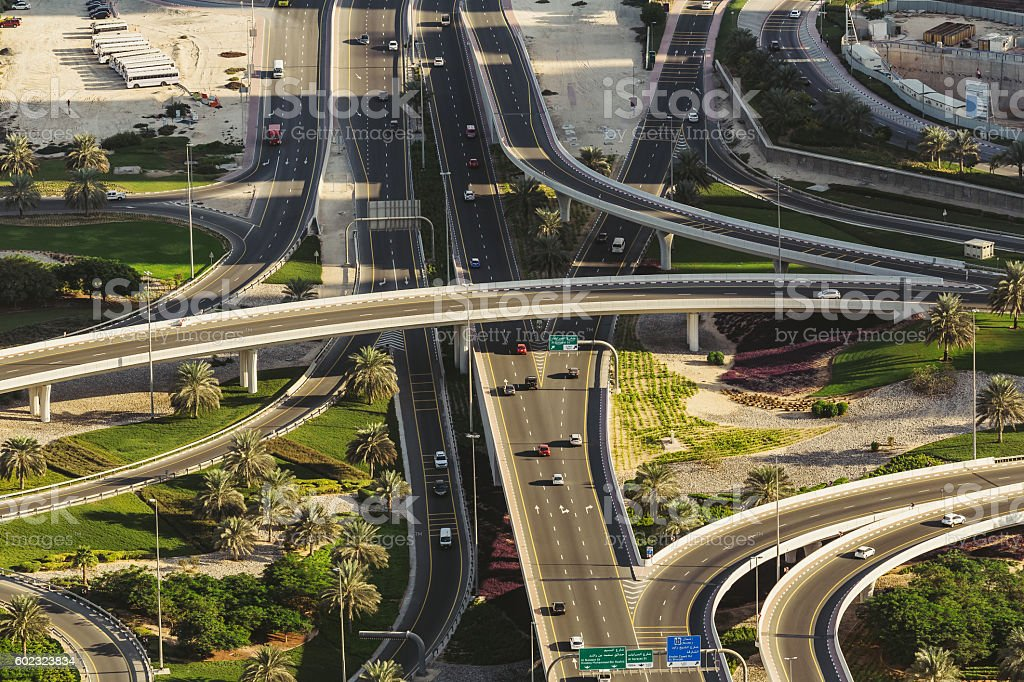Aerial view of highway interchange in Dubai, UAE. stock photo