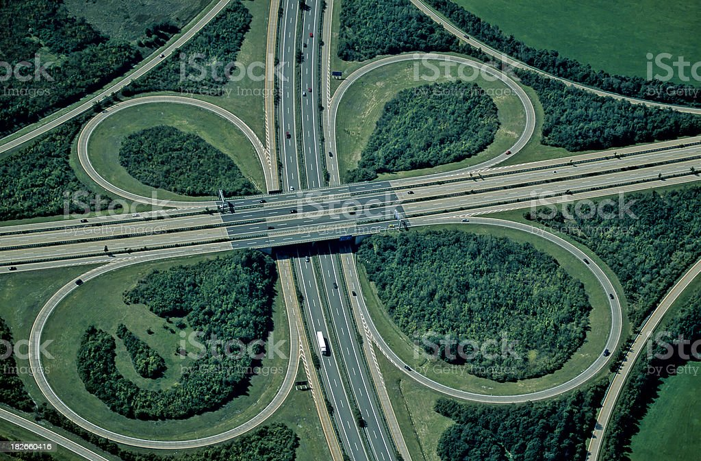 Aerial View of Highway Interchange stock photo