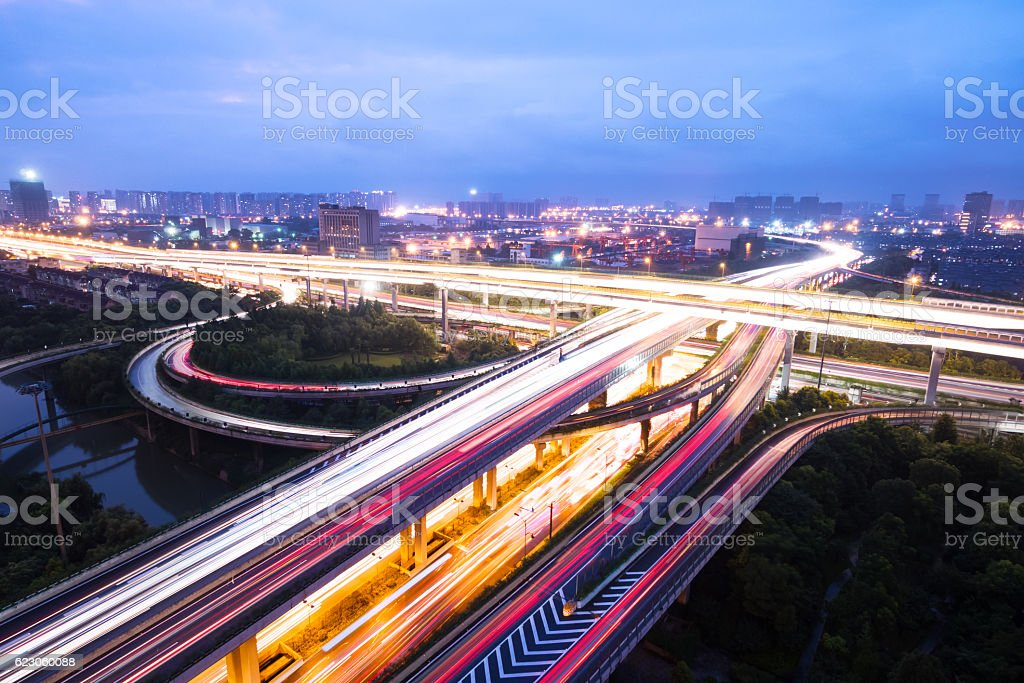 Aerial view of highway junction with busy traffic stock photo