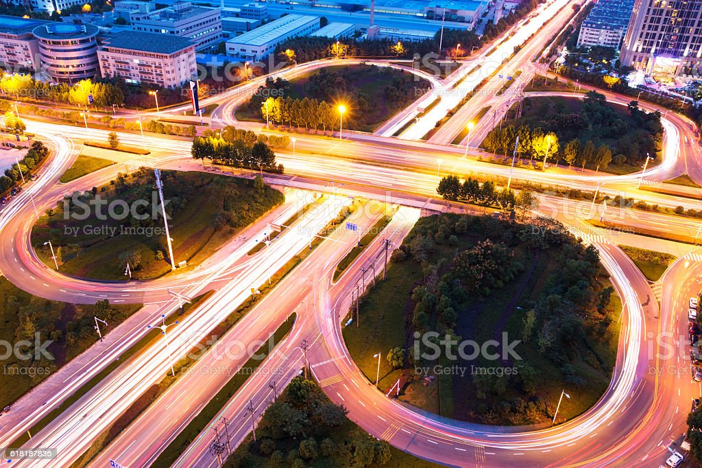 Aerial view of highway junction with little traffic stock photo